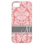 Modern Lace Damask Pattern - Coral and Grey iPhone 5 Cover