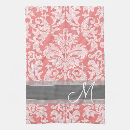 modern lace damask pattern coral and grey kitchen towels. Black Bedroom Furniture Sets. Home Design Ideas