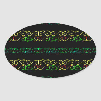 Modern Lace Stripe Pattern Oval Sticker