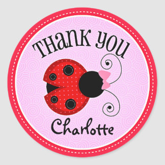 Modern Ladybug Personalized Thank You Classic Round Sticker