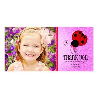 Modern Ladybug Personalized Thank You Personalized Photo Card