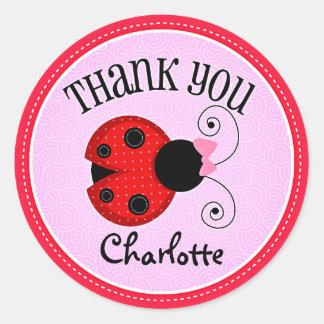 Modern Ladybug Personalized Thank You Round Sticker