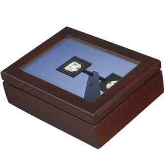 modern  lamppost under darkening blue sky keepsake box
