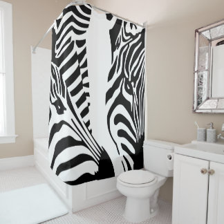 Modern Large Zebra Faces Shower Curtain