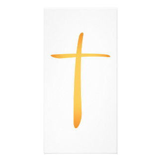 Modern Latin Christian Cross Personalised Photo Card