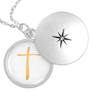 Modern Latin Christian Cross Round Locket Necklace