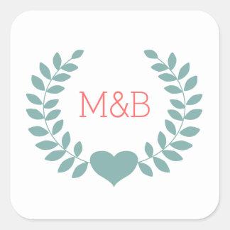 Modern Laurel Wedding Monogram Sticker