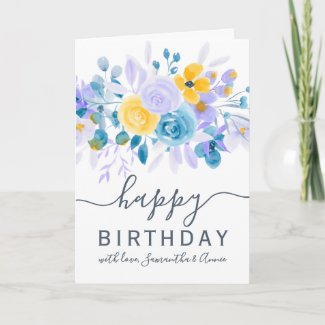 Modern lavender floral watercolor 2 photo birthday card