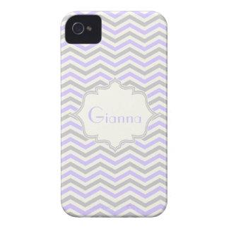 Modern lavender, grey, ivory chevron pattern iPhone 4 case