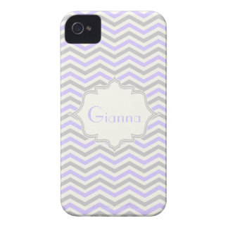 Modern lavender, grey, ivory chevron pattern iPhone 4 cover