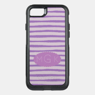 Modern Lavender Stripes with Monogram OtterBox Commuter iPhone 8/7 Case
