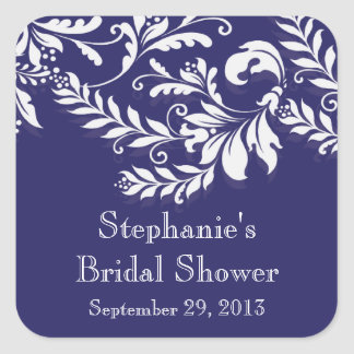 Modern Leaf Damask Bridal Shower Postage Stamp Sticker