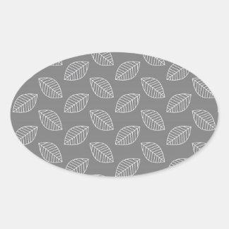 Modern Leaf in Gray Oval Sticker