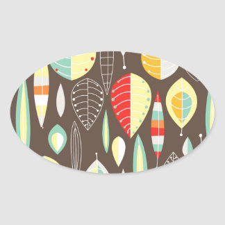 Modern Leaves Oval Sticker