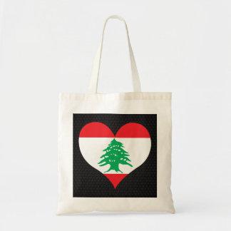 Modern Lebanese flag Budget Tote Bag