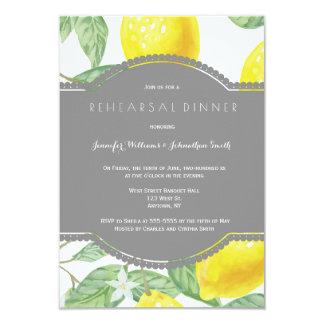 Modern lemon rehearsal dinner invitations