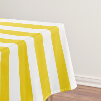 Modern Lemon Yellow Wide Stripe Tablecloth