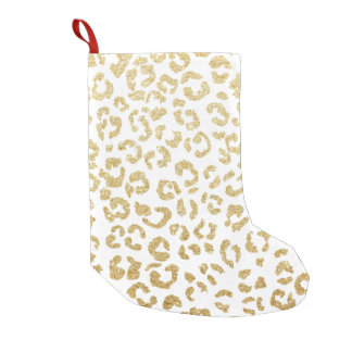 Modern leopard pattern luxury faux gold glitter small christmas stocking