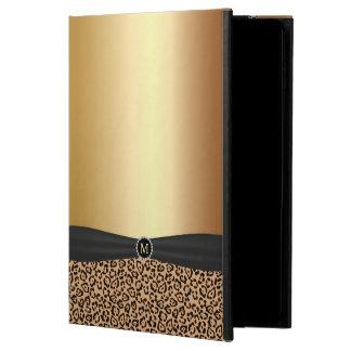 Modern Leopard Print Gold Monogram & Black Ribbon Powis iPad Air 2 Case