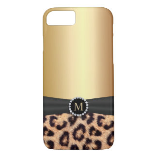 Modern Leopard Print Gold Monogram iPhone 7 Case