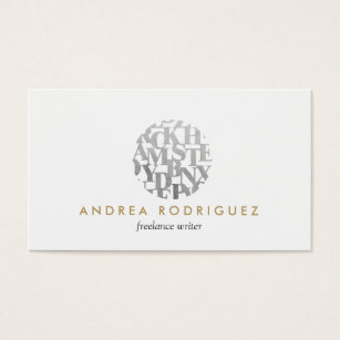 Author business cards business card printing zazzle uk modern letterform logo for authors and writers business card colourmoves Images