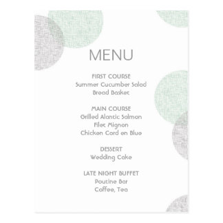 Modern Letterpress Style Circle Wedding Menu Card