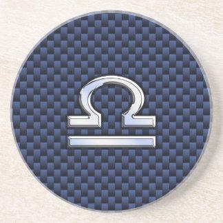 Modern Libra Sign on Navy Blue Carbon Fiber Beverage Coasters