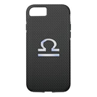 Modern Libra Zodiac Sign on black snake skin style iPhone 7 Case