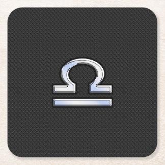 Modern Libra Zodiac Sign on black snake skin style Square Paper Coaster