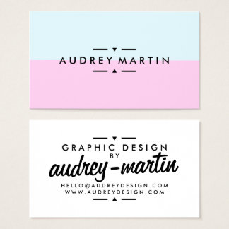 Modern light blue and pink minimalist color block business card