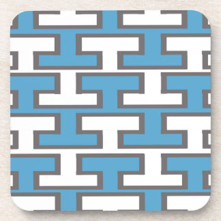 Modern Light Blue and White Bricks Beverage Coaster