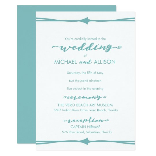 Modern Light Blue Border Wedding Invitation