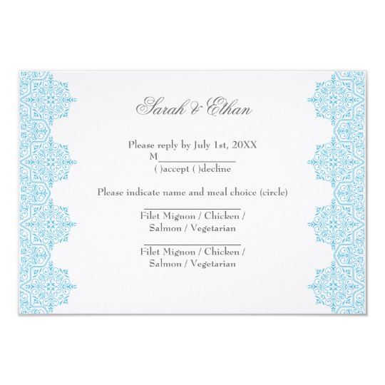 Modern Light blue Damask Wedding RSVP Cards