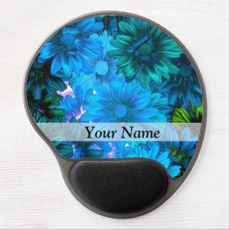 Modern light blue floral pattern gel mouse mat