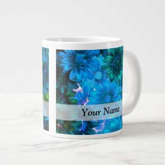 Modern light blue floral pattern jumbo mug