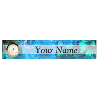 Modern light blue floral pattern nameplate