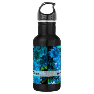Modern light blue floral pattern 532 ml water bottle