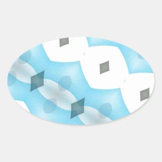 Modern Light Blue, Gray & White Fractal Oval Sticker