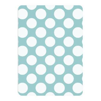 Modern Light Blue White Polka Dots Pattern 13 Cm X 18 Cm Invitation Card