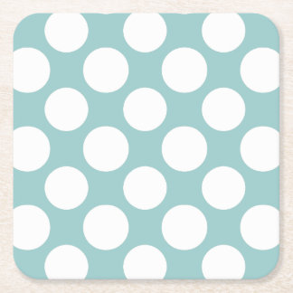 Modern Light Blue White Polka Dots Pattern Square Paper Coaster