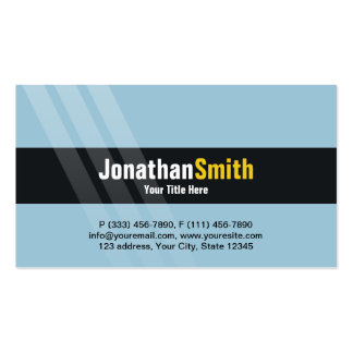 Modern Light Blue Yellow With Elegant Stripes Pack Of Standard Business Cards