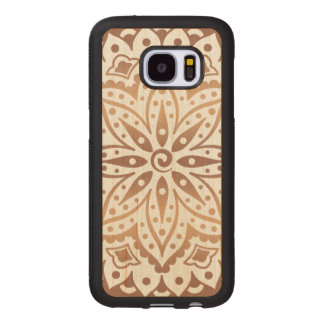 Modern Light Brown Ornate Floral Mandala GR2 Wood Samsung Galaxy S7 Case