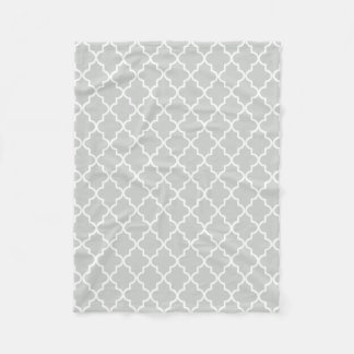 Modern Light Gray and White Moroccan Quatrefoil Fleece Blanket