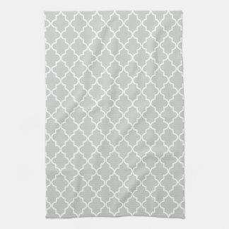 Modern Light Gray and White Moroccan Quatrefoil Tea Towel