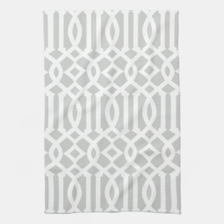 Modern Light Gray and White Trellis Pattern Tea Towel
