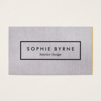Modern Light Gray Linen LOOK Interior Designer Business Card