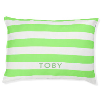 Modern Light Green Stripes Pattern Personalized Pet Bed