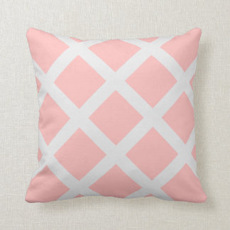 Modern Light Pink and White Criss Cross Stripes Pillow
