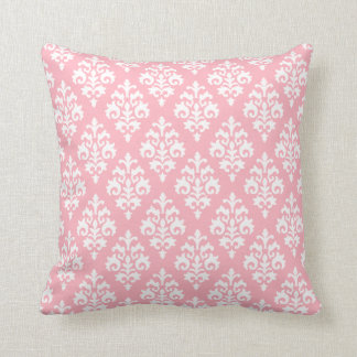 Modern Light Pink and White Damask Throw Pillow Cushions