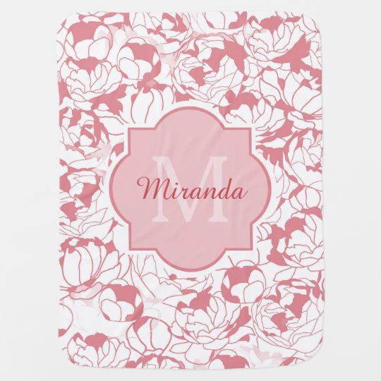 Modern Light Pink Floral Girly Monogram With Name